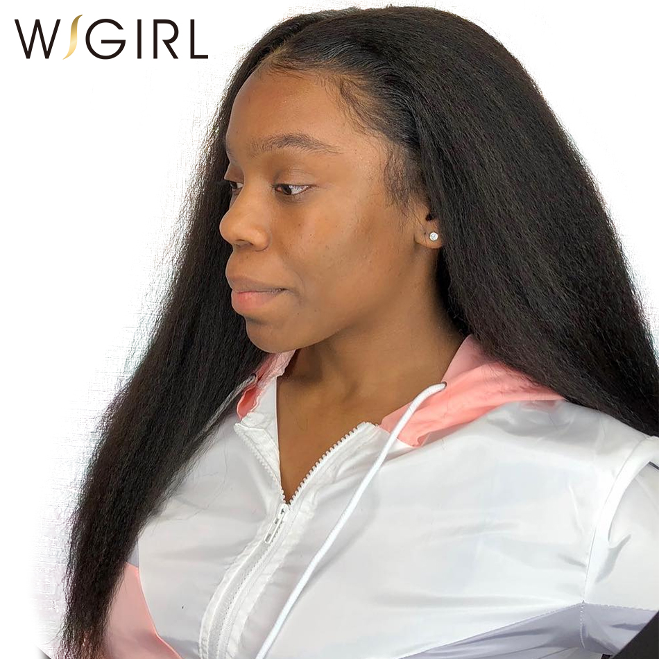 Wigirl Hair Kinky Straight Lace Front Human Hair Wigs Virgin Hair Brazilian Wigs For Women Bleached