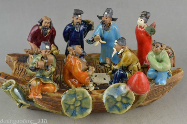 Elaborate Chinese Classical Collectible Handwork Old porcelain China 8 immortal on boat statue Elaborate Chinese Classical Collectible Handwork Old porcelain China 8 immortal on boat statue