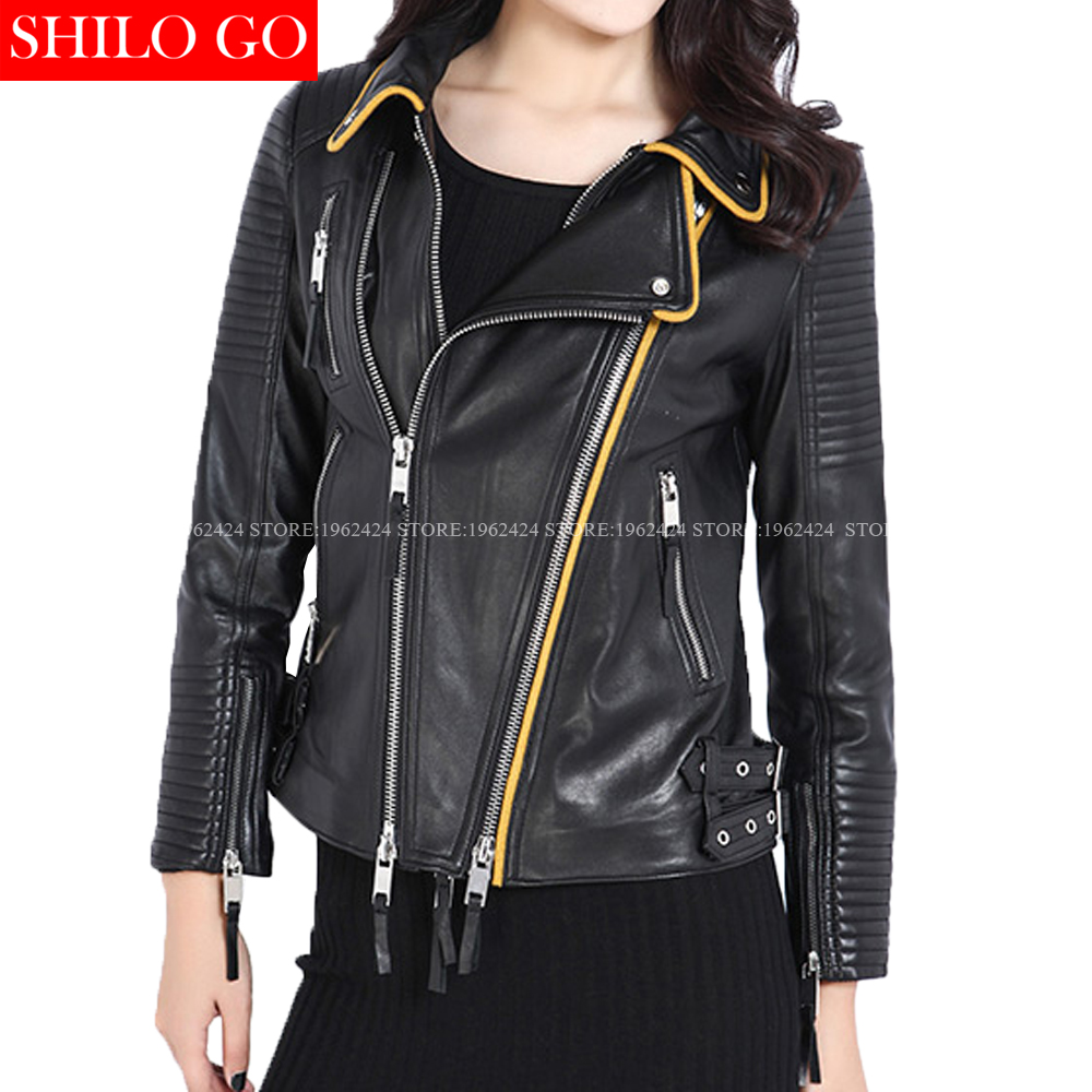 Leather jacket yellow stripe - Plus Size Fashion Women High Quality Sheep Leather Lapel Yellow Hit Color Horizontal Striped Motorcycle Genuine Leather Jackt