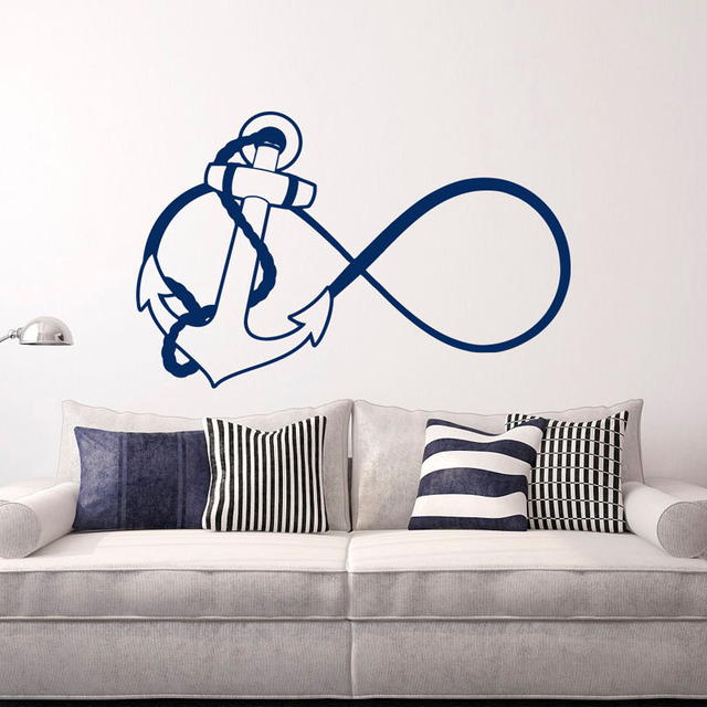 Ship Anchor Infinity Wall Stickers Home Decor Living Room Nautical Nursery Decals For Bedroom Wallpaper
