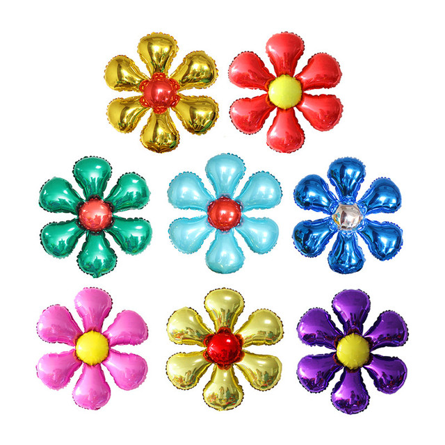 New Arrival Flowers Aluminum Foil Balloons Happy Birthday Wedding Decorations Ballons Baby shower Market Activity Party Supplies 2
