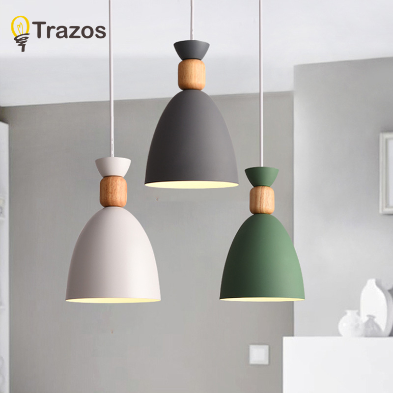 Modern Simple Pendant Lights Fashion Nordic Wooden Iron Pendant HangLight shade Fixture Home Bar E27 White/green/gray