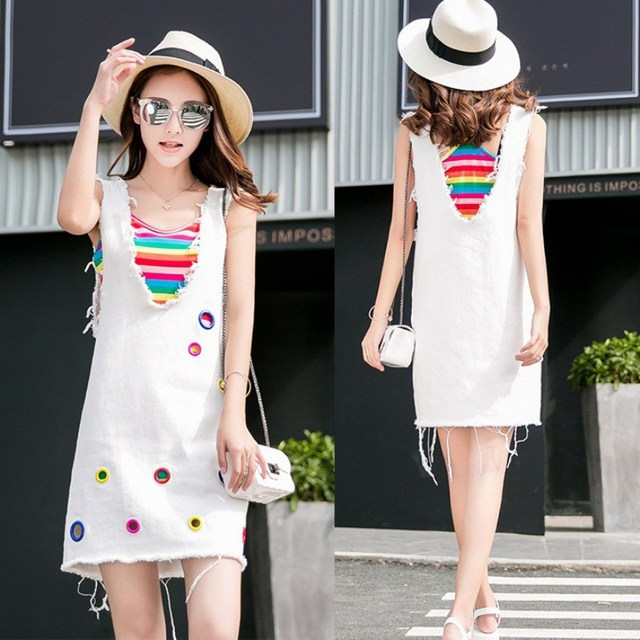 Fashion 2019 New Women Summer 2-Pieces Denim Strap White Dress & Rainbow Color Camisole Casual Sleeveless Loose Overall Dress