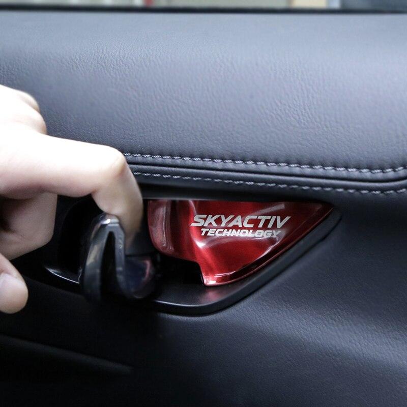 For Mazda 3 4 5 CX-5 CX-7 Vinyl Door Sill Protector Red 4pcs