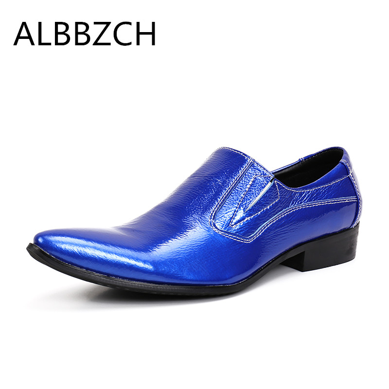 New pointed toe slip on blue white patent leather men shoes formal suit wedding male shoes mens dress shoes big yards size 45 46