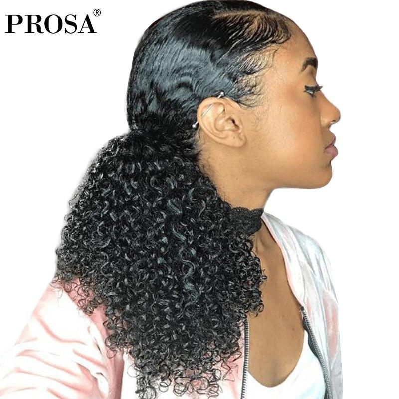 3B 3C Crépus Bouclés Queue de Cheval de Cheveux Humains Pour Les Femmes Couleur Naturelle Mongol Clip Dans Les Cheveux Humains Extensions Prosa Remy Un pièce