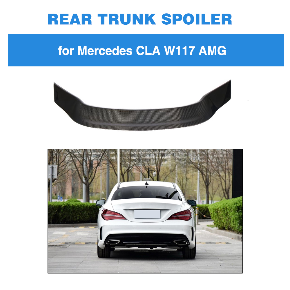 For Mercedes-Benz CLA Class W117 CLA180 CLA200 <font><b>CLA250</b></font> CLA45 AMG 2013 - 2019 Carbon Fiber Rear Trunk Lip <font><b>Spoiler</b></font> Wing Boot Lid image