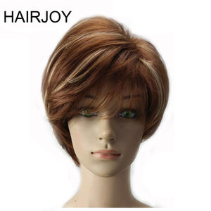 HAIRJOY Women Synthetic Hair Wig Brown Blonde Highlight Layered Short Straight Wigs 9 Colors Available