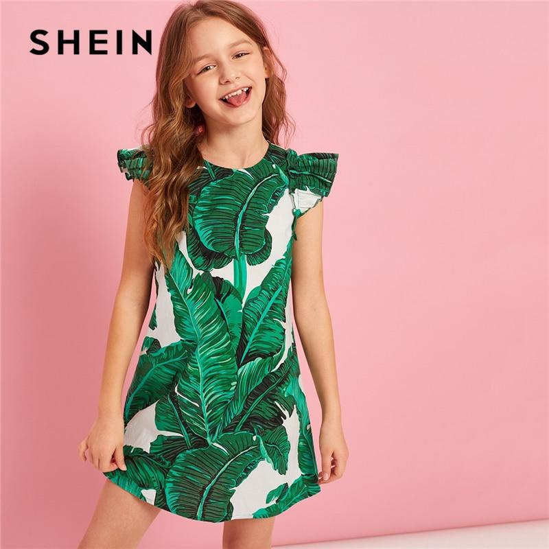 f0625dbee2 SHEIN Kiddie Green Tropical Print Ruffle Trim Girls Tunic Dress Kids  Dresses 2019 Summer Sleeveless Button Back Dress For Child