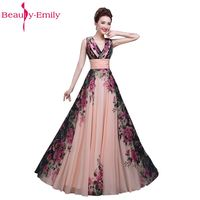 Floral Printed V Neck Sleeveless Chiffon A Line Formal Evening Dress Long Floor Length Evening Party