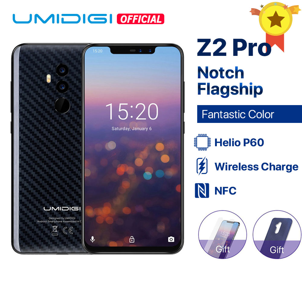 """UMIDIGI Z2 Pro 6GB+128GB 6.2""""Full Screen Smartphone Android 8.1 Helio P60 Quad Lens 4G LTE NFC Wireless charge Mobile phone NFC"""