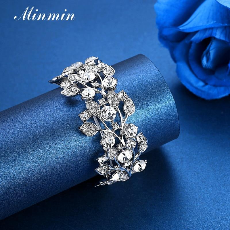Minmin Crystal Leaf Silver Färg Bridal Armband för kvinnor - Märkessmycken - Foto 4