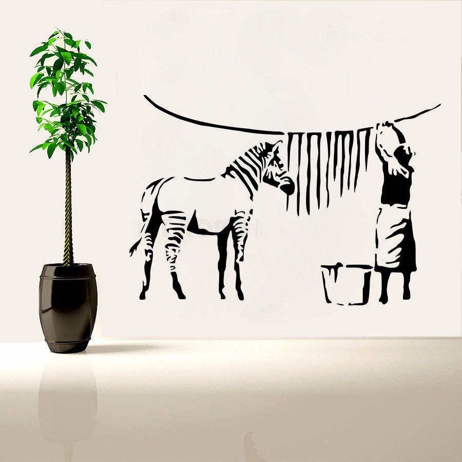 Banksy Style Wall Sticker Zebra Stripe Washing Lady Home Decoration Street Graffiti Painting Waterproof Decals Poster Mural W140