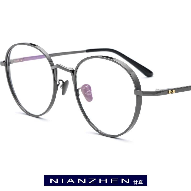Titane pur lunettes cadre hommes rétro rond myopie optique Prescription lunettes cadre femmes 2019 Vintage ovale coréen lunettes