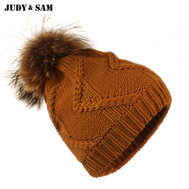 Fashion New 2015 Knitting Thick Wool Warm Beanie Hat With Genuine Raccoon Fur Ball Women Thicken Lining Winter Beanie caps Cap the new children s cubs hat qiu dong with cartoon animals knitting wool cap and pile