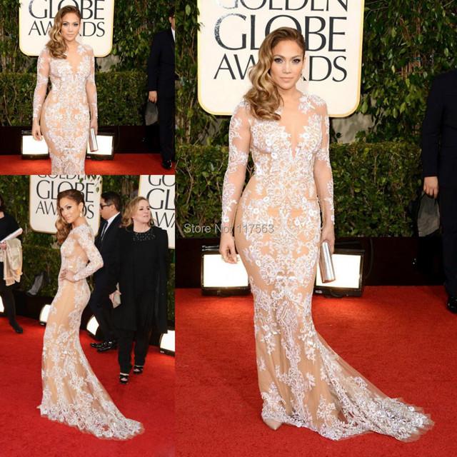Jennifer Lopez Red manga comprida ver através Bodycon celebridade mulheres evento vestido frete grátis CD070