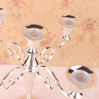 Hot Wedding Candlestick Candelabra Wholesale Silver Gold Black Bronze Metal Candle Holder 5 Arms Candle Stand