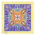 [Lesida] bohemia estilo étnico floral lenço das mulheres tamanho pequeno 100% sarja de seda lenço belas imagens para senhoras 60*60 centímetros 9130