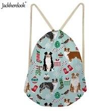 Jackherelook Travel Running Bags Women Men Athletic Gym Drawstring Backpack Soft Back Sports Bag Australian Shepherd Pattern