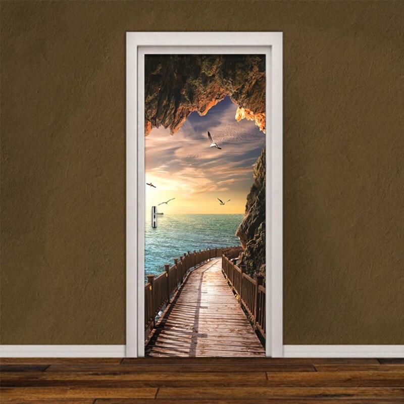 DIY Renovation Mural Waterproof Wallpaper 3d Sea Landscape Picture Canvas Print Decor Door Sticker Self Adhesive Art Home Design