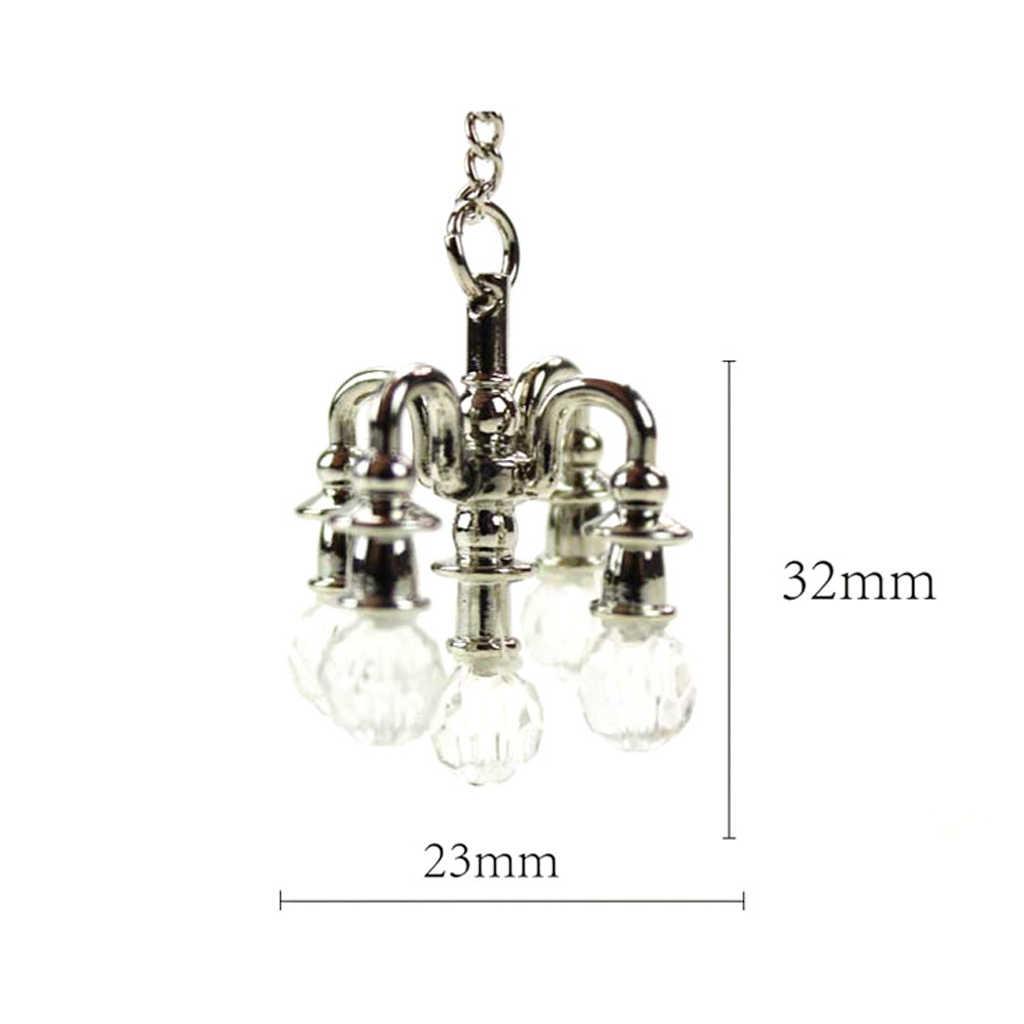1:12 dom dla lalek miniaturowe żelaza oświetlenie sufitowe lampy spadek 1/12 domek dla lalek pokój ACCS złoty dla lalki dekoracje mebli akcesoria