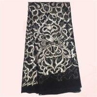 Dernières noir français tissu de tulle avec argent paillettes africaine tulle mesh matériel pour robe JNZ9-1