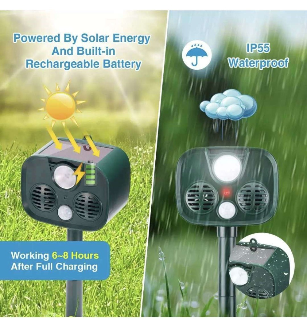 IP65 Solar Alarm Flash LED Drive Animals Friendly Repeller No Harm To Animals PIR Sensor Auto Detect Ultrasonic Pest Reject