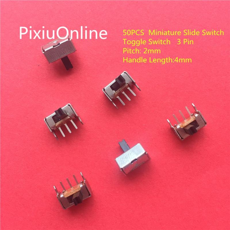 Тумблер YT1998 SK12D07, 50 шт., 3-контактный PCB 2-позиционный 1P2T SPDT Миниатюрный скользящий переключатель, Боковая ручка SK12D07VG4, бесплатная доставка