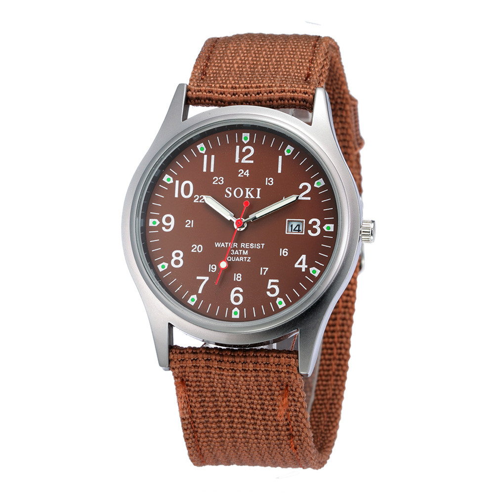 2018 Military Army Outdoor Mens Date Stainless Steel Military Luxury Sports Analog Quartz Canvas Wrist Watch MAY11 D22 special aka special aka in the studio