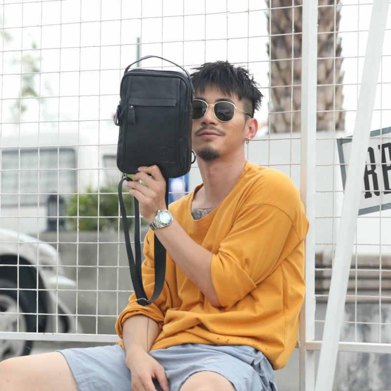 2019 Moda Genuínos Sacos Crossbody Couro homens Marca música dos homens sacos de peito Masculino Saco de Ombro ocasional saco do mensageiro