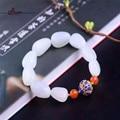 2016 Nova Marca de Estilo Chinês Branco Natureza Jade Bracelete Frisado com talão de ágata Real e Presente de prata pura para As Mulheres e a Saúde