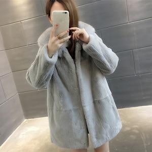 Image 4 - 2019 Yeni Doğal Rex Tavşan Kürk Palto Kadınlar Boy Kapşonlu Kış Gerçek Kürk Ceketler Artı Boyutu