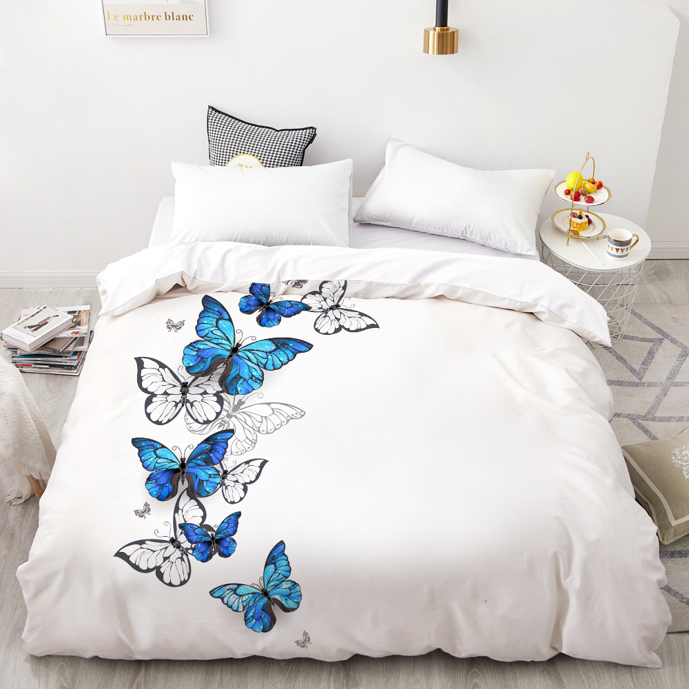 3D HD Digital Printing Custom Duvet Cover,Comforter/Quilt/Blanket Case Queen King Bedding 200x200,Bedclothes Butterfly On White