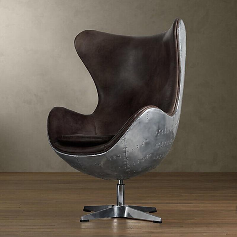 Egg Chair Space Aluminum Skin Metal Chair Beanbag Chair