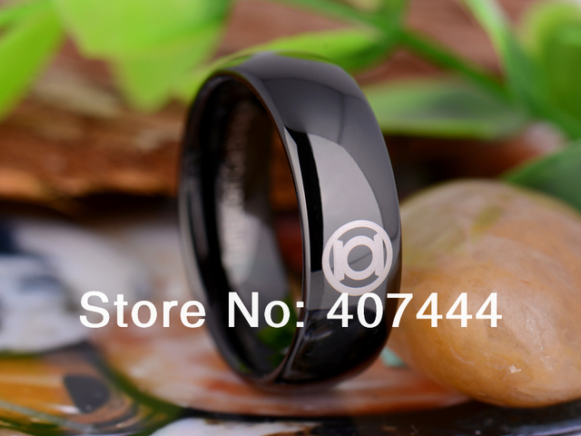 free shipping ygk jewelry hot sales 8mm black dome green lantern superhero mens tungsten carbide wedding - Green Lantern Wedding Ring