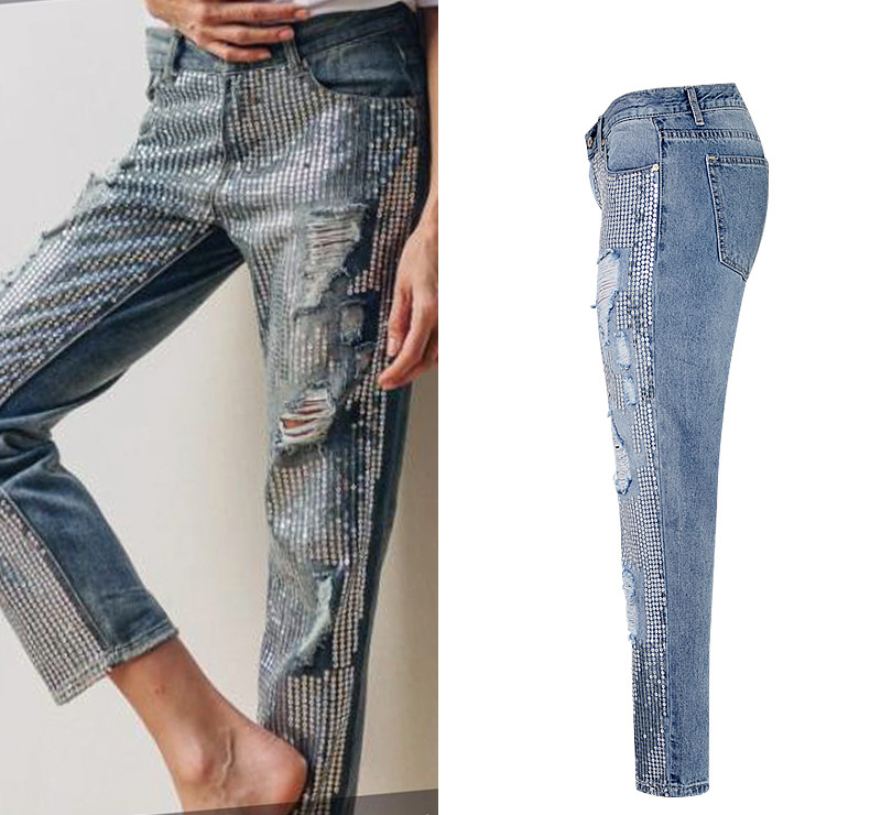 2018 Europe and the United States women`s fashion waist loose straight jeans denim pants ultra-popular metal color embroidery beads washed old holes (4)