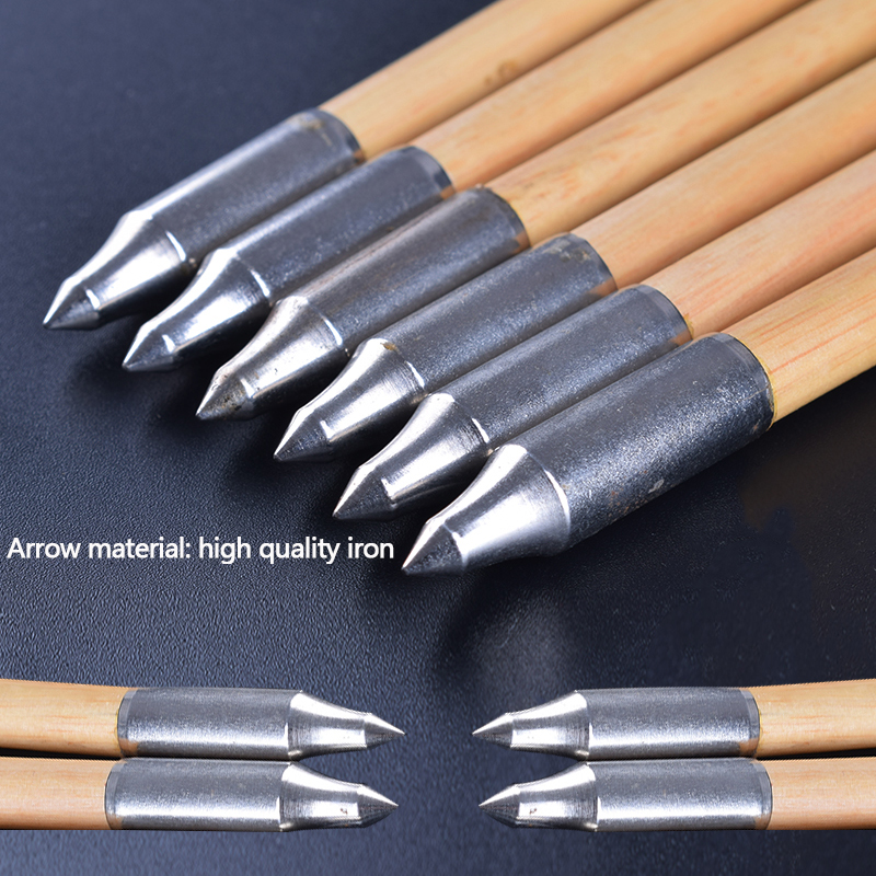 6/12/24 PCS 80 cm High Quality Real Turkish White Feather Wood Arrows For  Archery Composite Bow Hunting Shooting Outdoor Sports