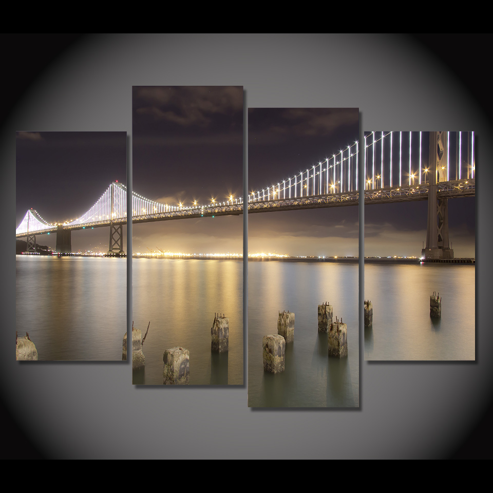 Attractive 4 Pcs/Set Framed HD Printed San Francisco Bridge Night Picture Wall Art  Print Poster Artwork Canvas Oil Modular Painting In Painting U0026 Calligraphy  From Home ...