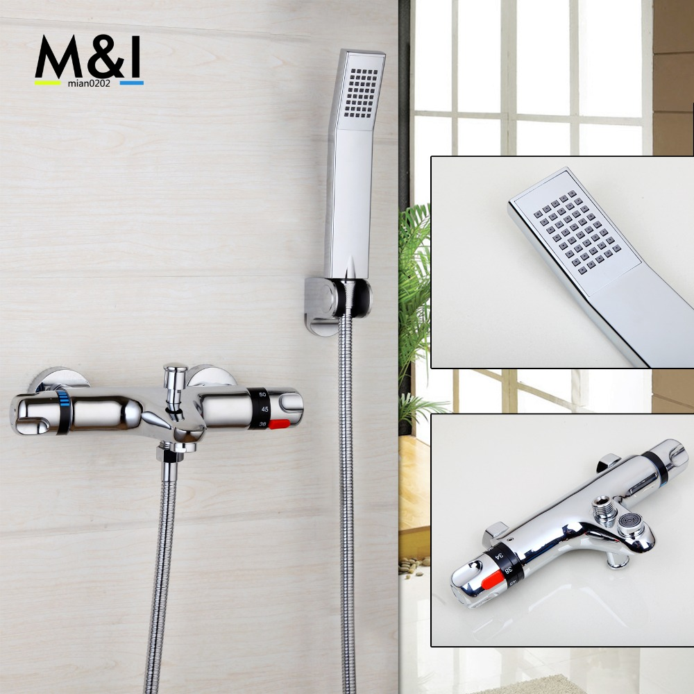 YANKSMART Wall Mounted Bathroom Thermostatic Faucets Polished Chrome Hot&Cold Water Mixer Shower Set Rain Bathtub Faucets Set free shipping high quality bathroom toilet paper holder wall mounted polished chrome