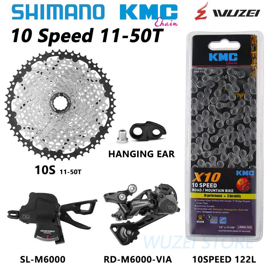Shimano XT M6000 5 pcs RD-M6000 10 kit velocidade Groupset Shifter mtb da bicicleta da bicicleta com cassete WUZEI 11 corrente KMC -42 T 11-46 T 11-50 T