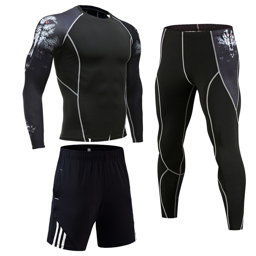 Men's 3 Piece Suit Gym Jogging Suit Wicking Track Suit Men Fitness Compression MMA Jiu Jitsu Rash Guard Crossfit Tshirt  Pants