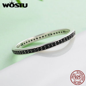 Image 4 - WOSTU Authentic 925 Sterling Silver Finger Stackable Rings With Black CZ For Women Fashion Jewelry Fine Gift FIR114