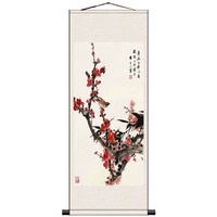 #S081 N Z 07 Plum Blossom Calligraphy and Painting Elegant Decoration Scroll Silk Painting The National Flower of Chinese Art