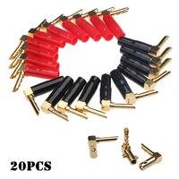 10pcsred + 10pcsblack Обложка Позолоченные Разъёмы банан музыкальный Динамик штекер кабеля прочный пильчатые адаптер для 4 мм аудио кабель
