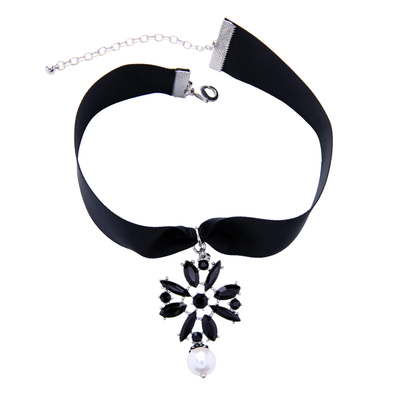 Acrylic flower Choker Necklace 2017 Women Girl Fashion Jewelry Accessories Black Cloth Chain Choker Necklace