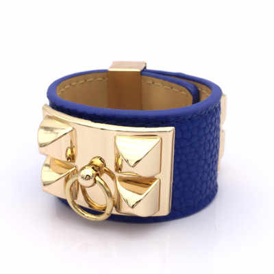 Elegant Star essential rivet Collier De Chien litchi pattern bracelet