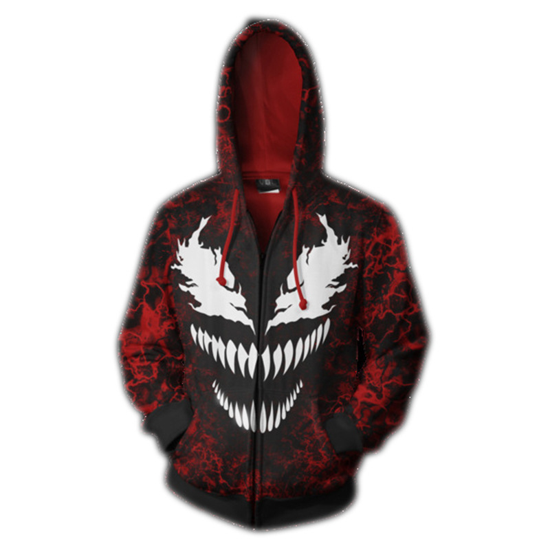 Venom Cosplay Costume 3D Hoodie Men Autumn Winter Sweatshirt Jacket Zip Coat Spider Hoodie