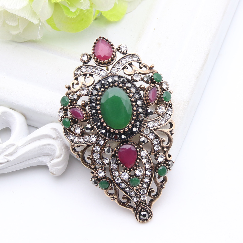 Vintage Turkish Women Flower Brooches Pins Antique Gold Color Resin Broches Brooch Pendant Dual-Purpose Ladies Ethnic Jewelry