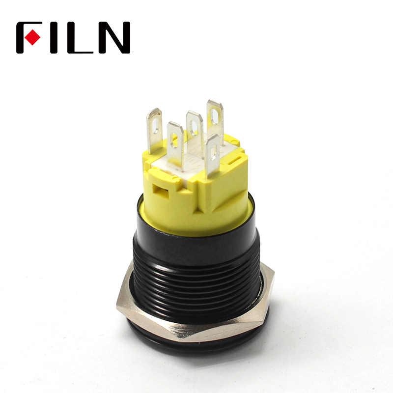 19mm 12 v LED noir shell métal bouton poussoir interrupteur tableau de bord personnalisé moteur démarrage symbole C40 voiture course interrupteur