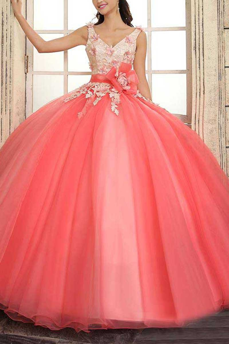 Coral V Neck Quinceanera Dresses for 15 years of debutante vestidos ...